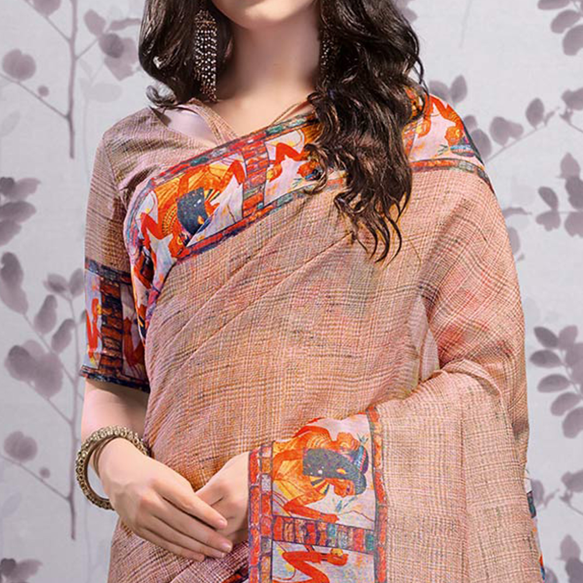 Adorable Mauve Colored Party Wear Printed Art Silk Saree