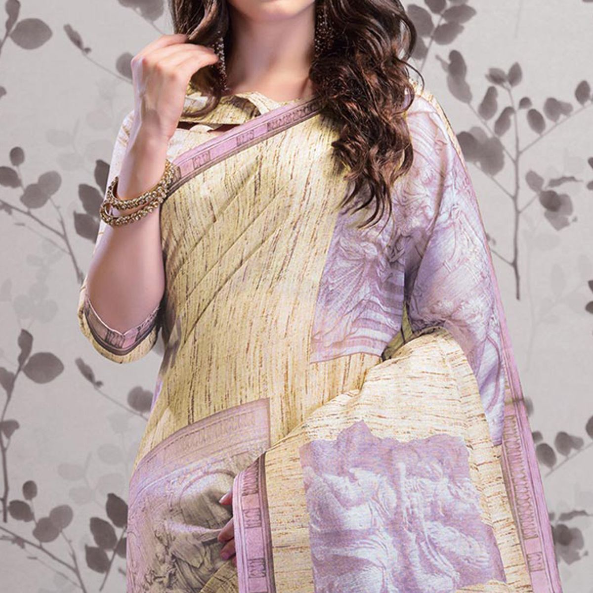 Attractive Cream Colored Party Wear Printed Art Silk Saree