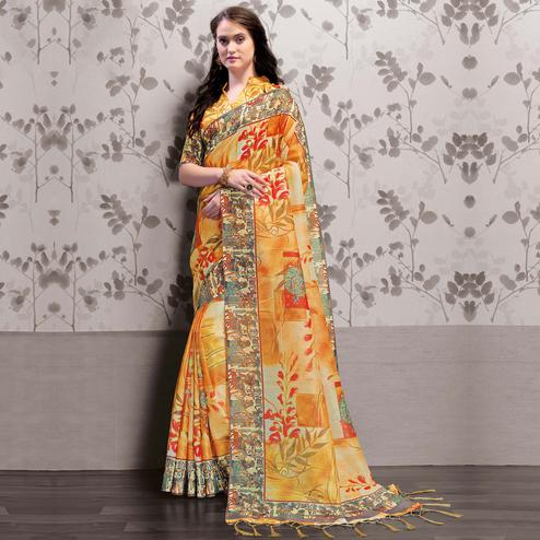 Desirable Yellow Colored Party Wear Printed Art Silk Saree