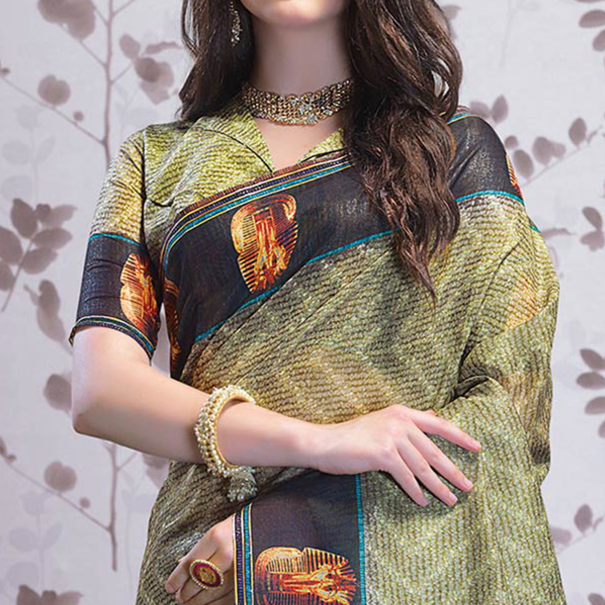 Demanding Olive Green Colored Party Wear Printed Art Silk Saree