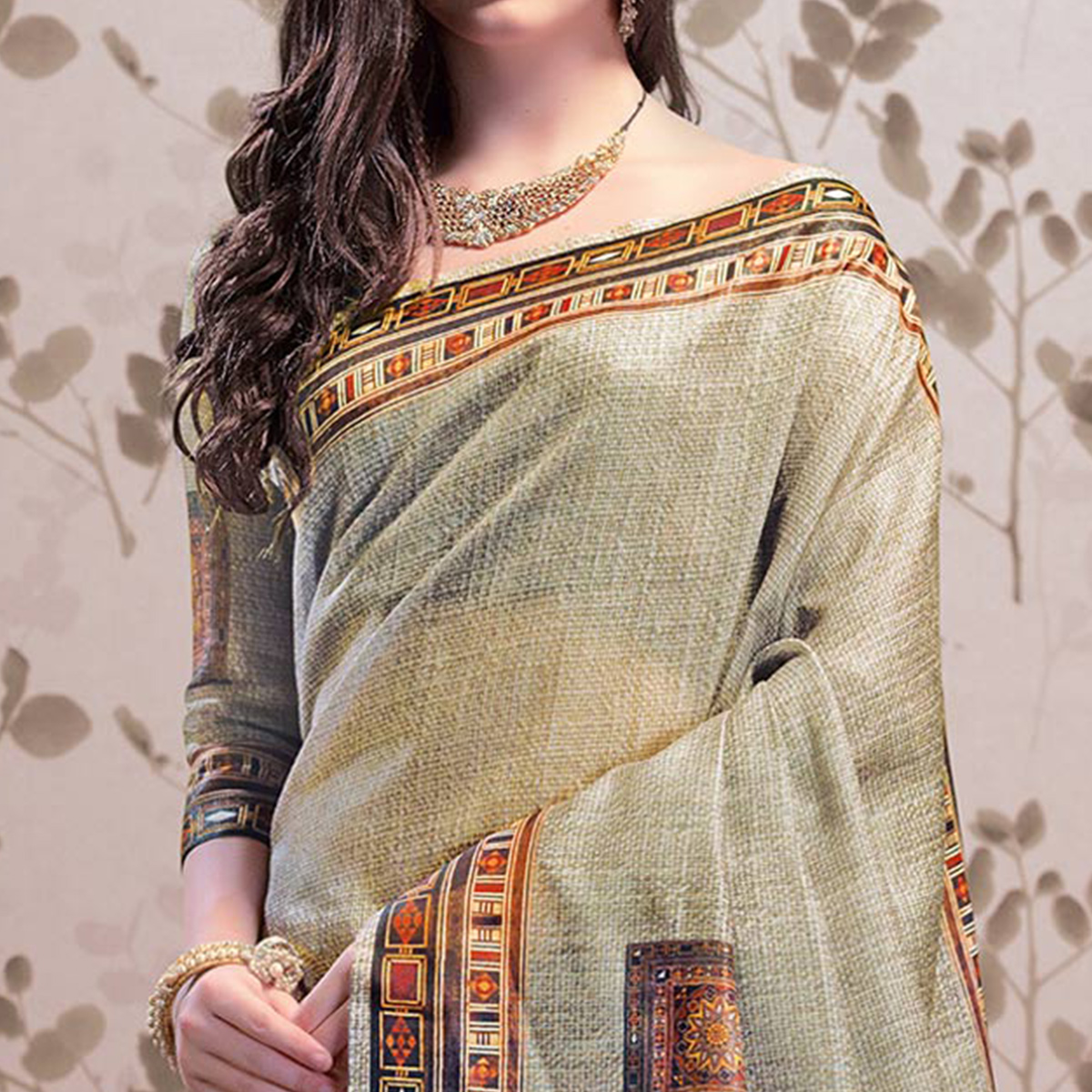 Pleasant Light Olive Green Colored Party Wear Printed Art Silk Saree