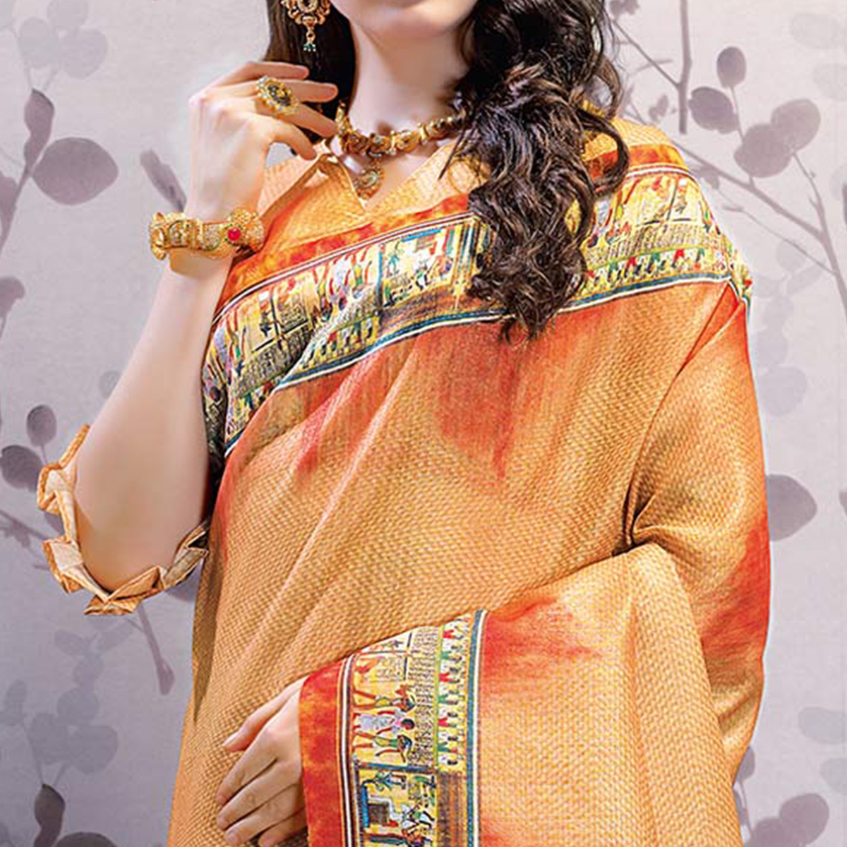 Unique Orange Colored Party Wear Printed Art Silk Saree