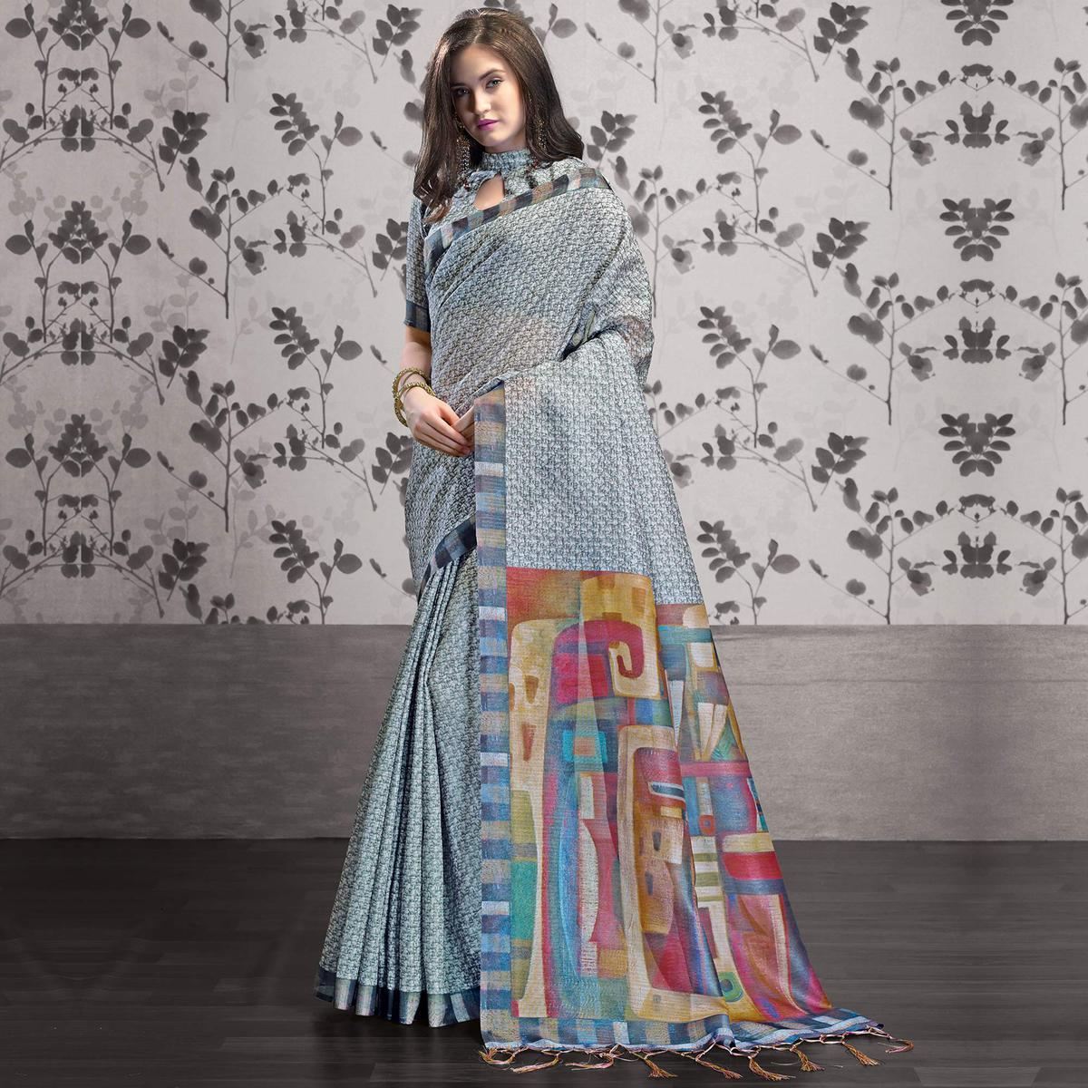 Refreshing Grey Colored Party Wear Printed Art Silk Saree
