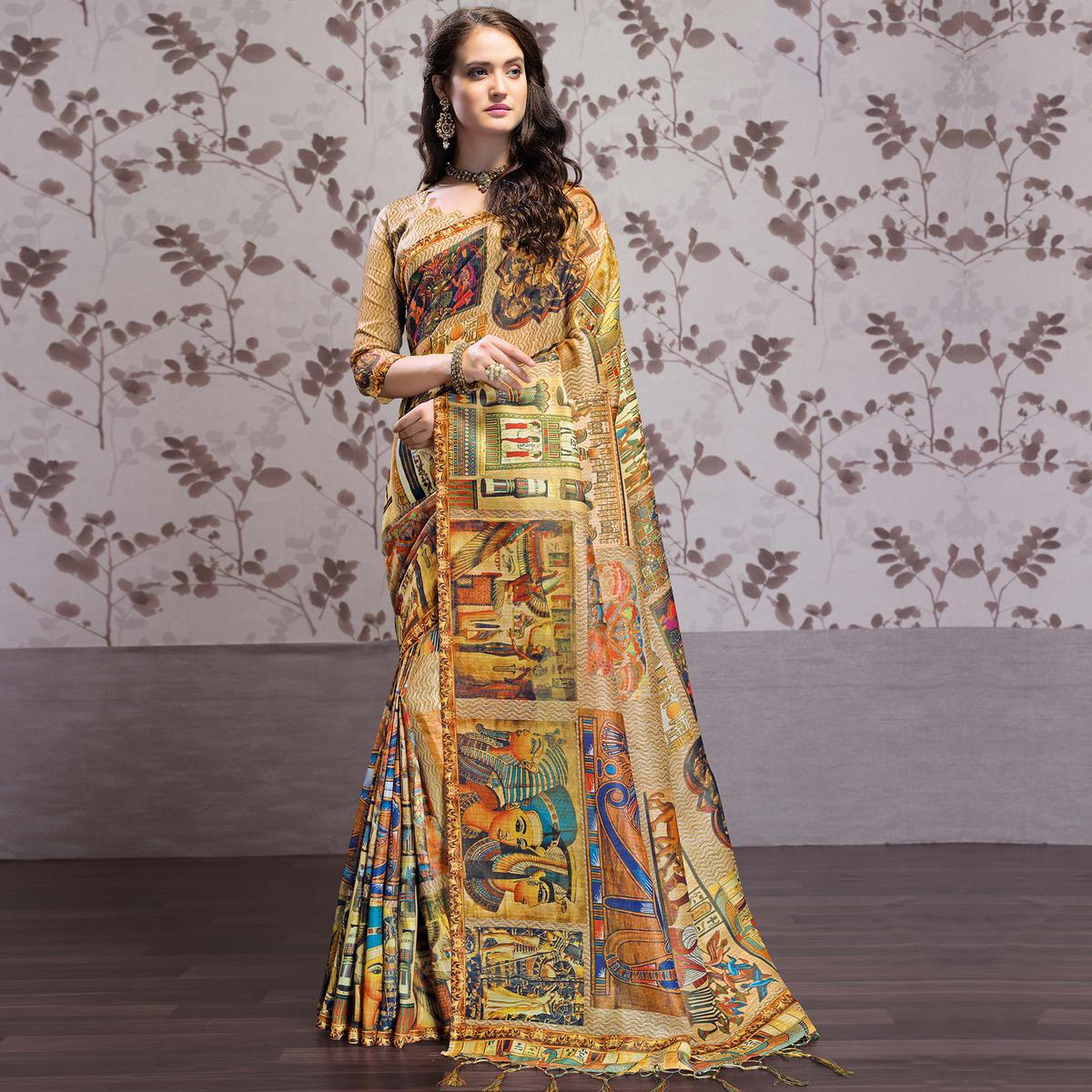 Elegant Multi Colored Party Wear Printed Art Silk Saree