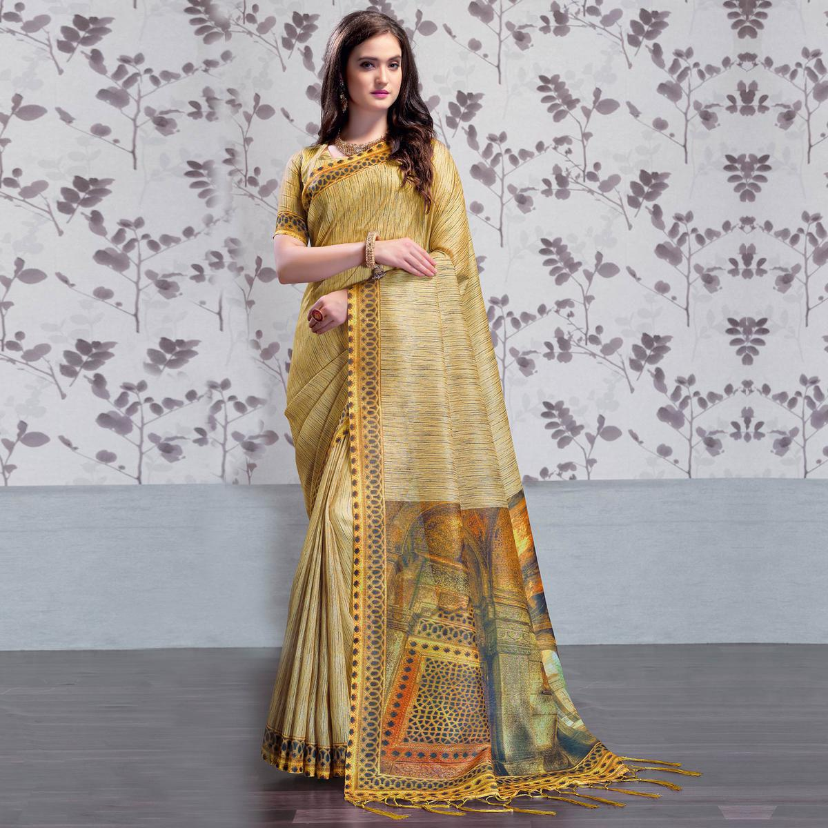 Alluring Beige Colored Party Wear Printed Art Silk Saree