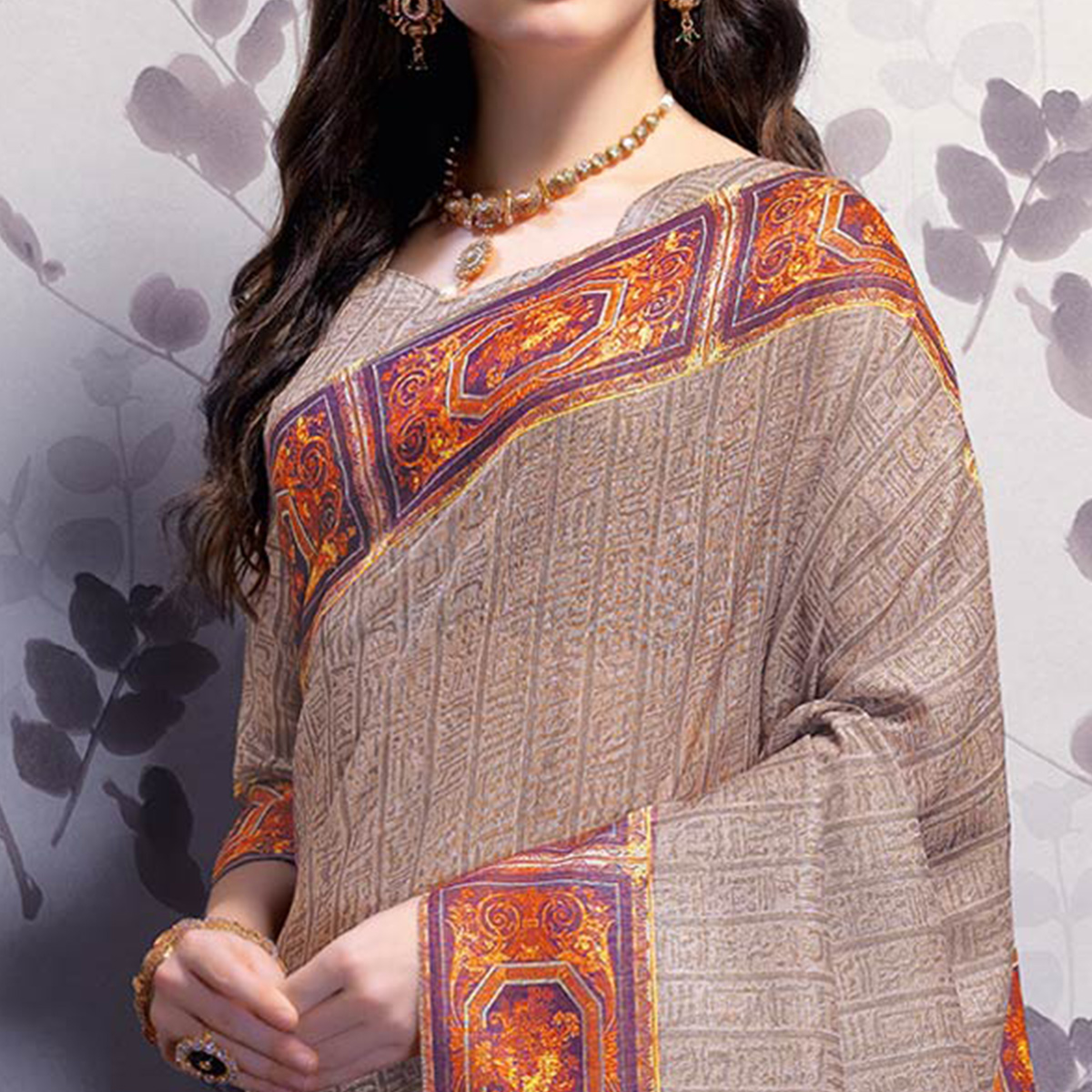 Radiant Light Brown Colored Party Wear Printed Art Silk Saree