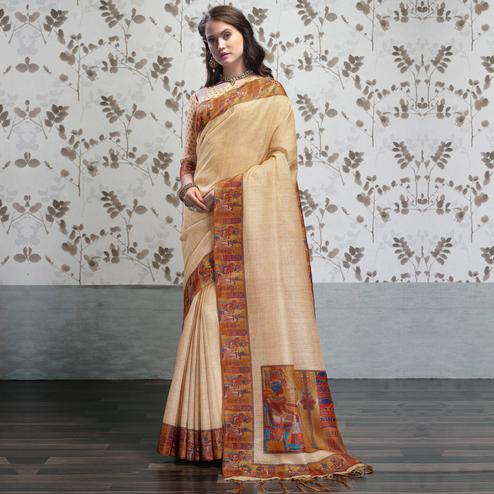 Opulent Beige Colored Party Wear Printed Art Silk Saree