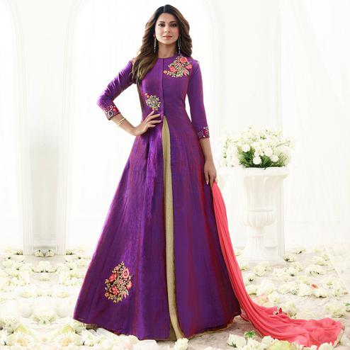 Staring Purple Colored Party Wear Embroidered Banarasi Silk Anarkali Suit