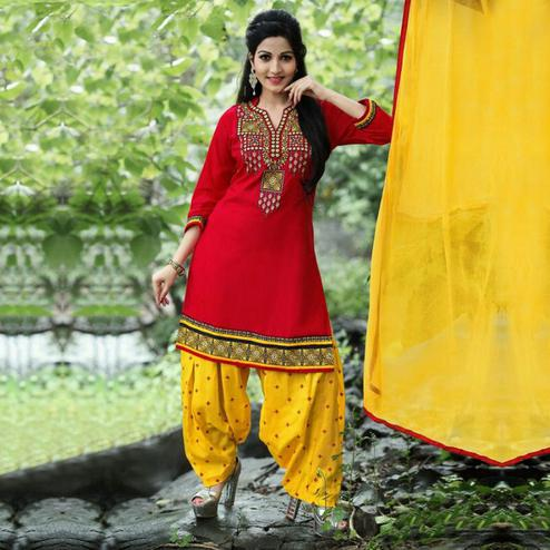 Ravishing Red - Yellow Colored Party Wear Embroidered Cotton Patiala Suit