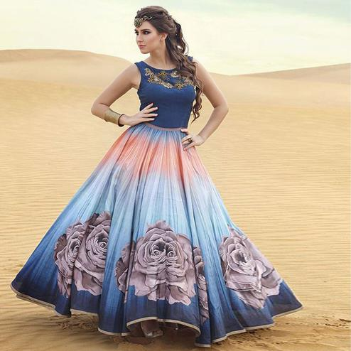Charming Blue Digital Printed Party Wear Silk Gown Anarkali