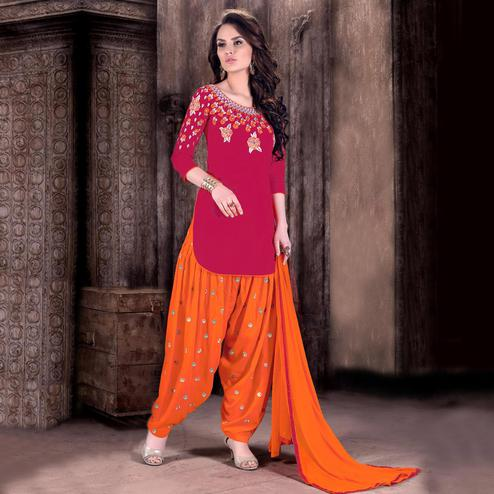 Ravishing Pink - Orange Colored Party Wear Embroidered Cotton Patiala Suit