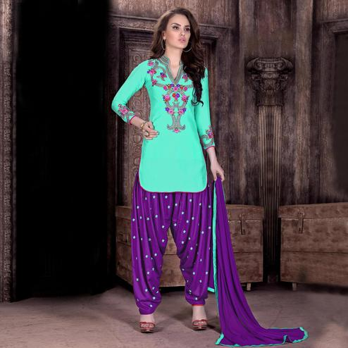 Pleasance Aqua Green Colored Party Wear Embroidered Cotton Patiala Suit