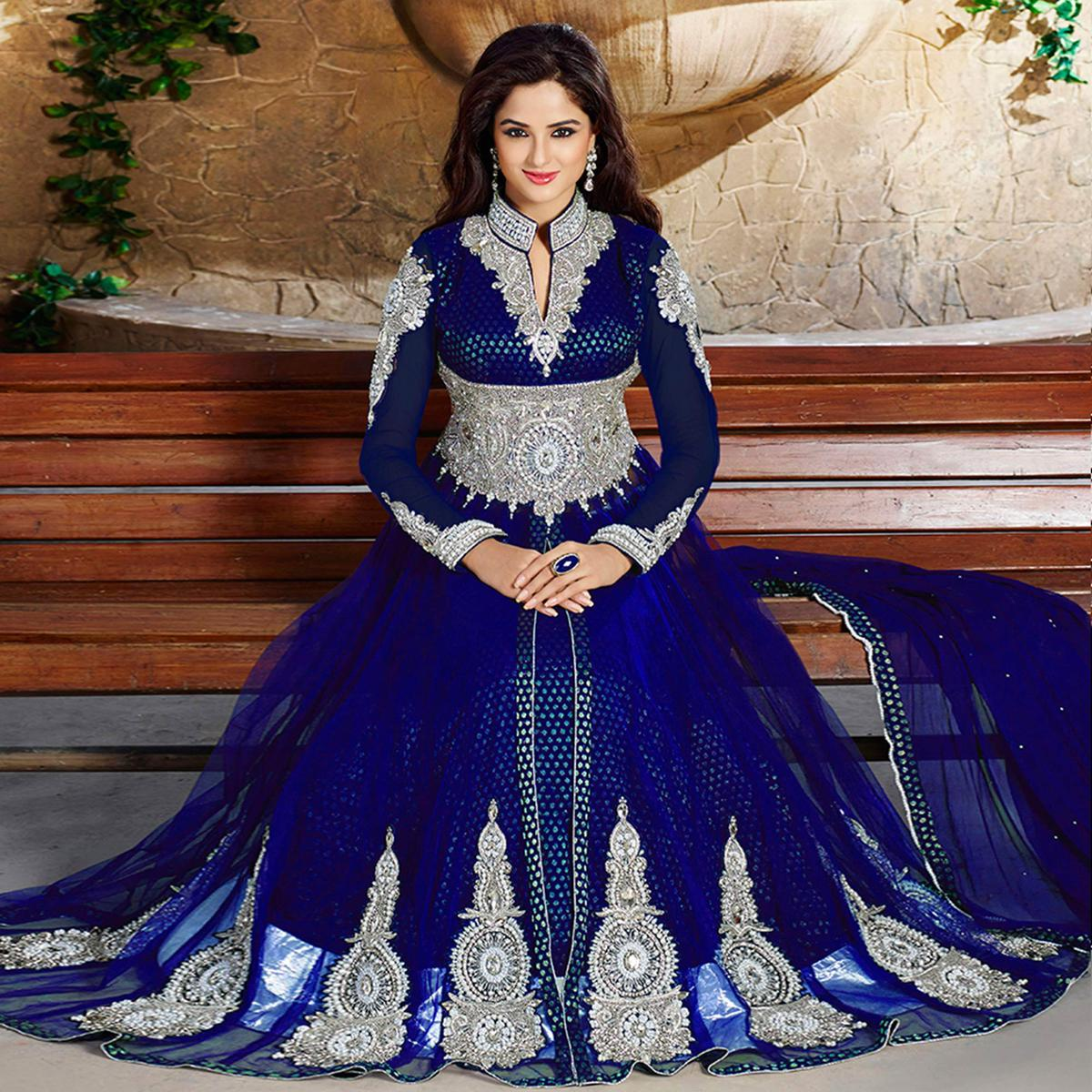 Gorgeous Royal Blue Colored Party Wear Embroidered Jacquard Lehenga Kameez