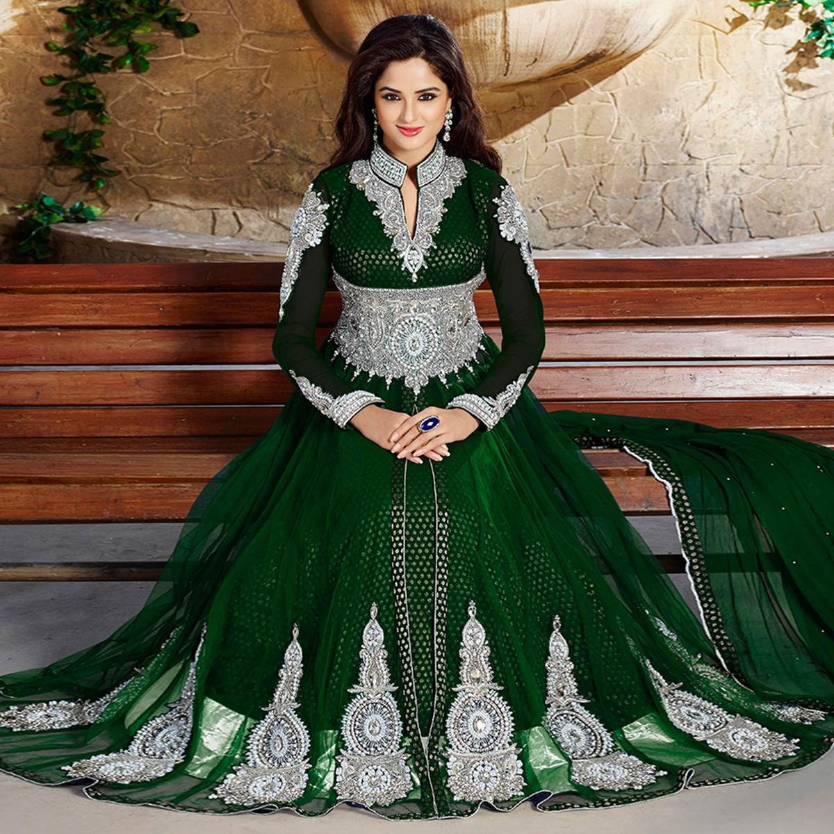 Gleaming Green Colored Party Wear Embroidered Jacquard Lehenga Kameez