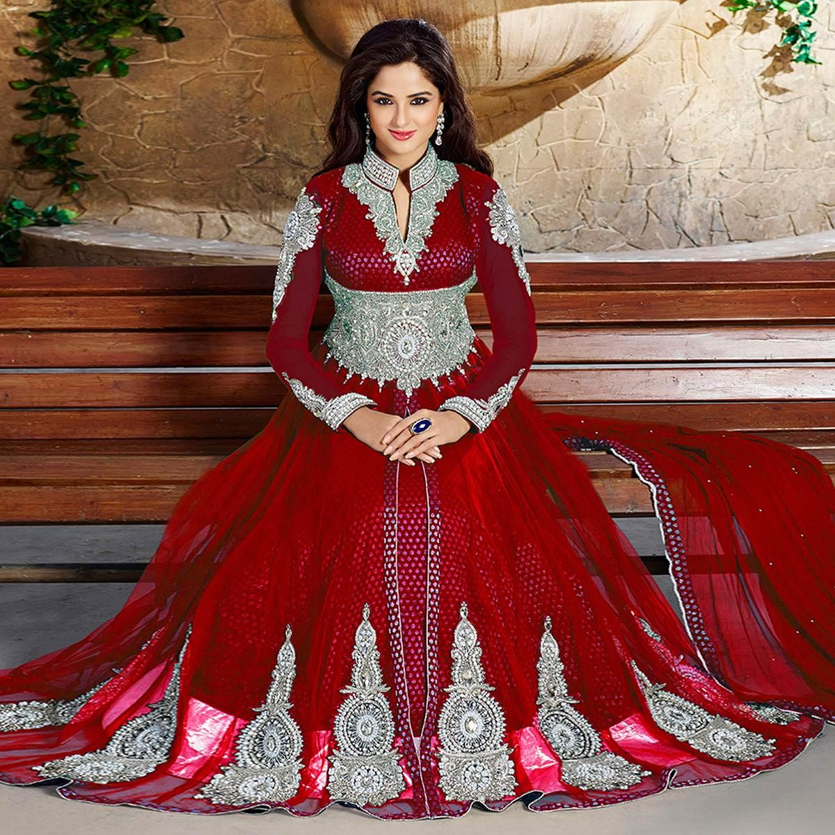 Marvellous Red Colored Party Wear Embroidered Jacquard Lehenga Kameez