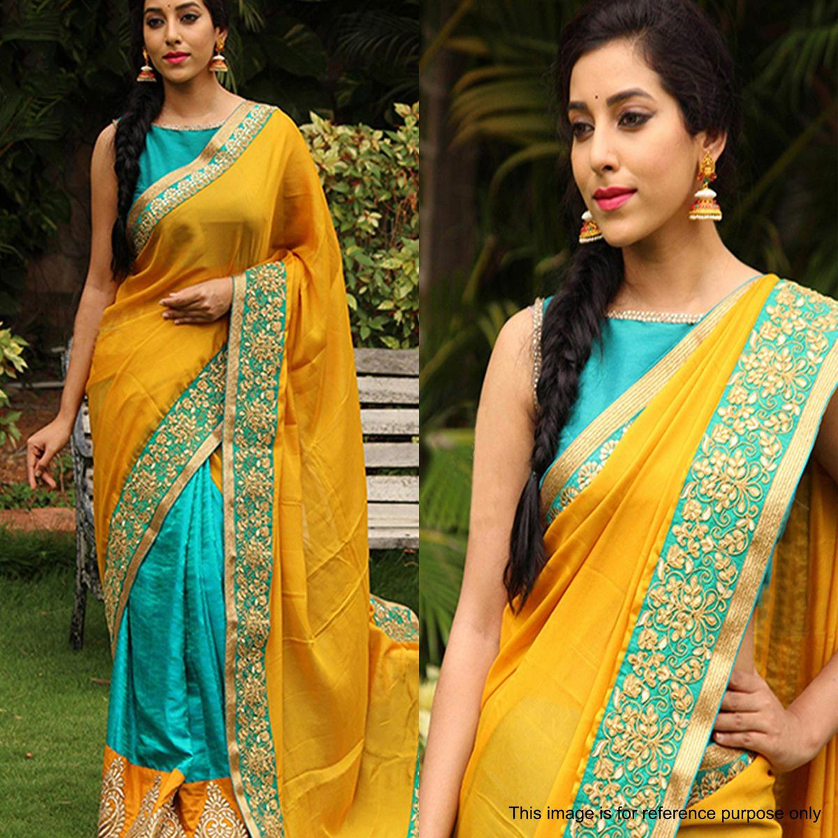 Desirable Yellow - Turquoise Colored Party Wear Embroidered Georgette Saree