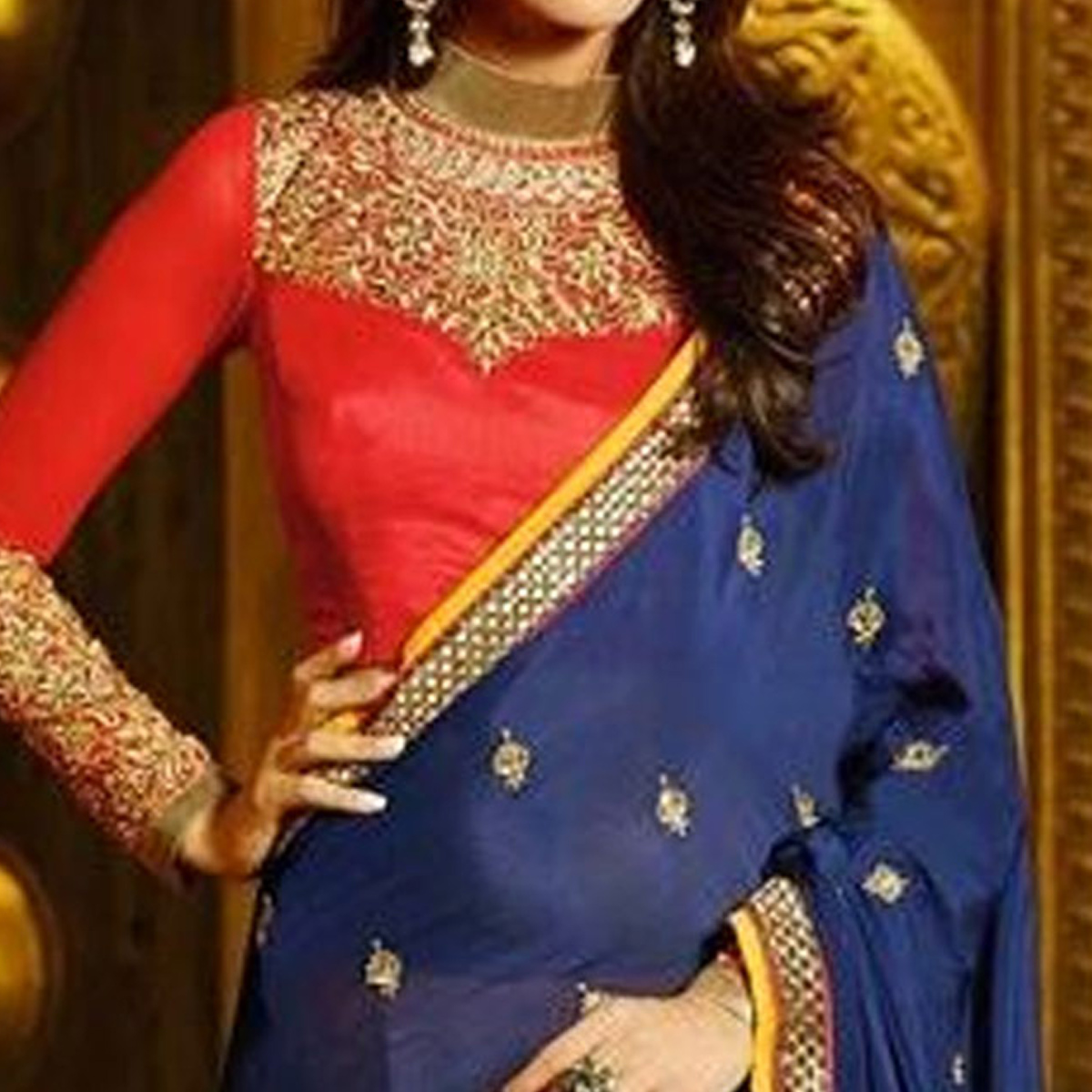 Jazzy Yellow - Navy Blue Colored Party Wear Embroidered Georgette Half & Half Saree