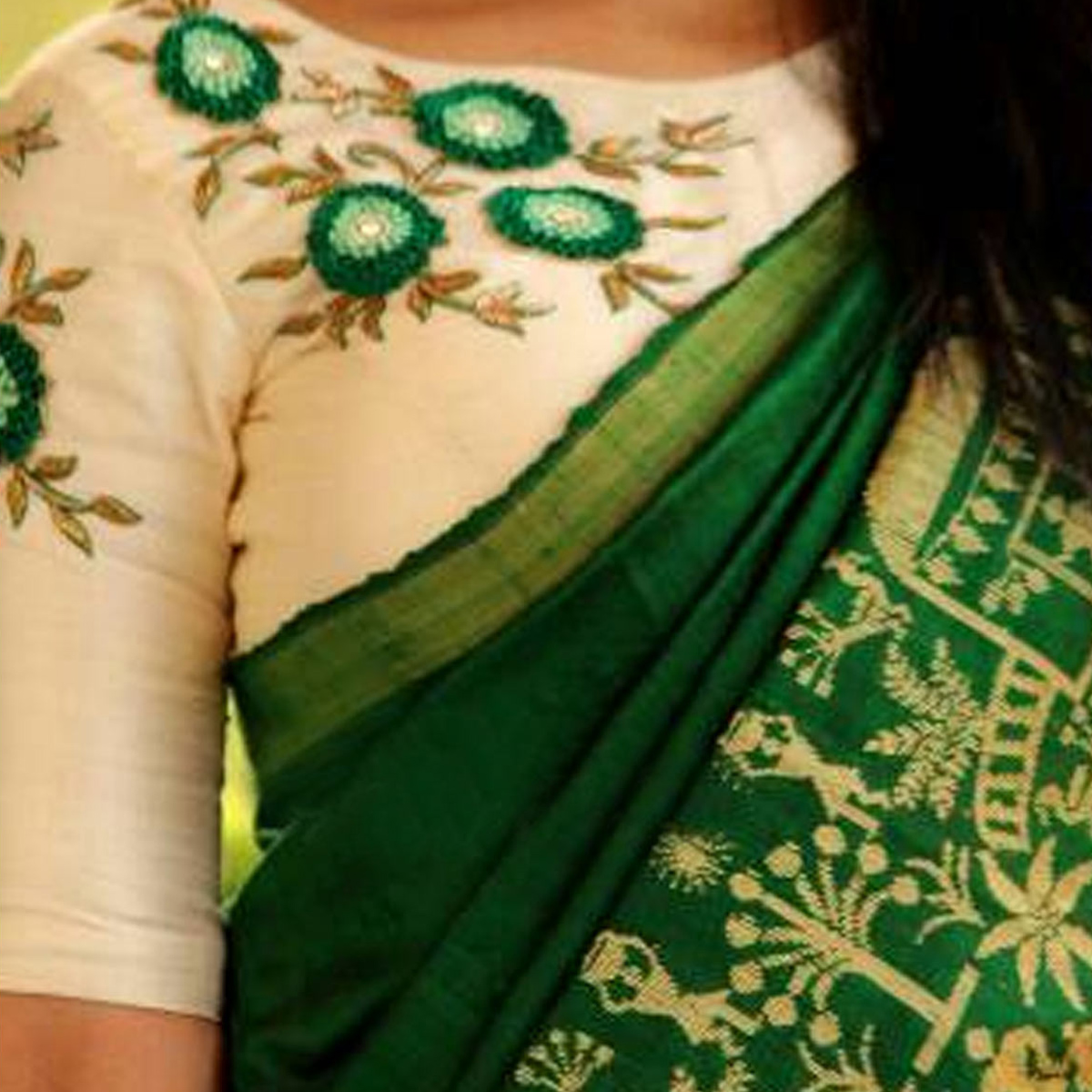 Appealing Green Colored Party Wear Printed Bhagalpuri Silk Saree