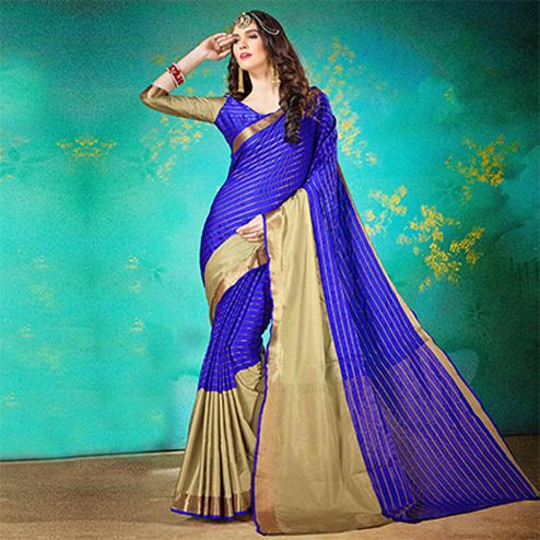Elegant Blue Cotton Silk Jacquard Woven Saree