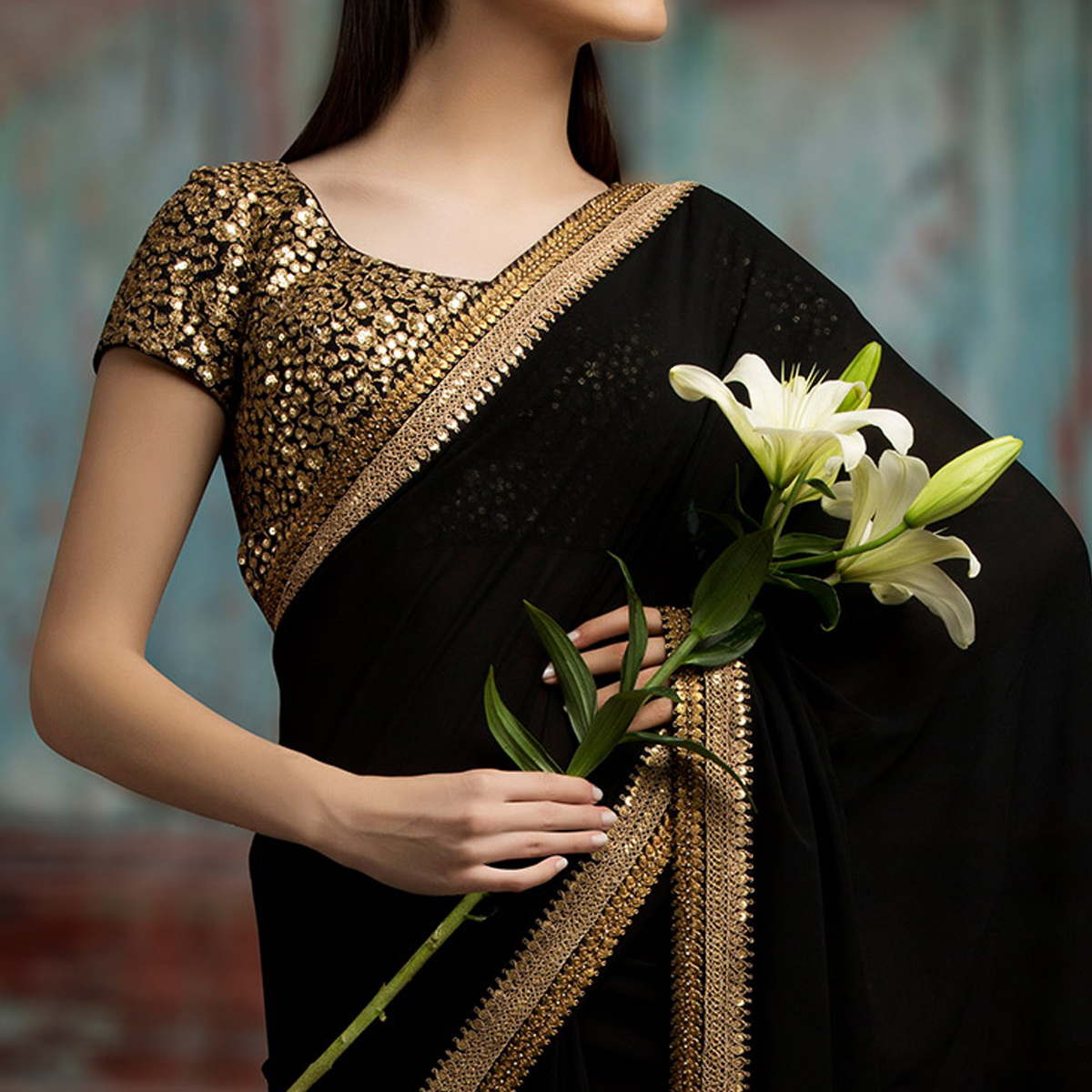 Alluring Black Colored Party Wear Embroidered Georgette Saree