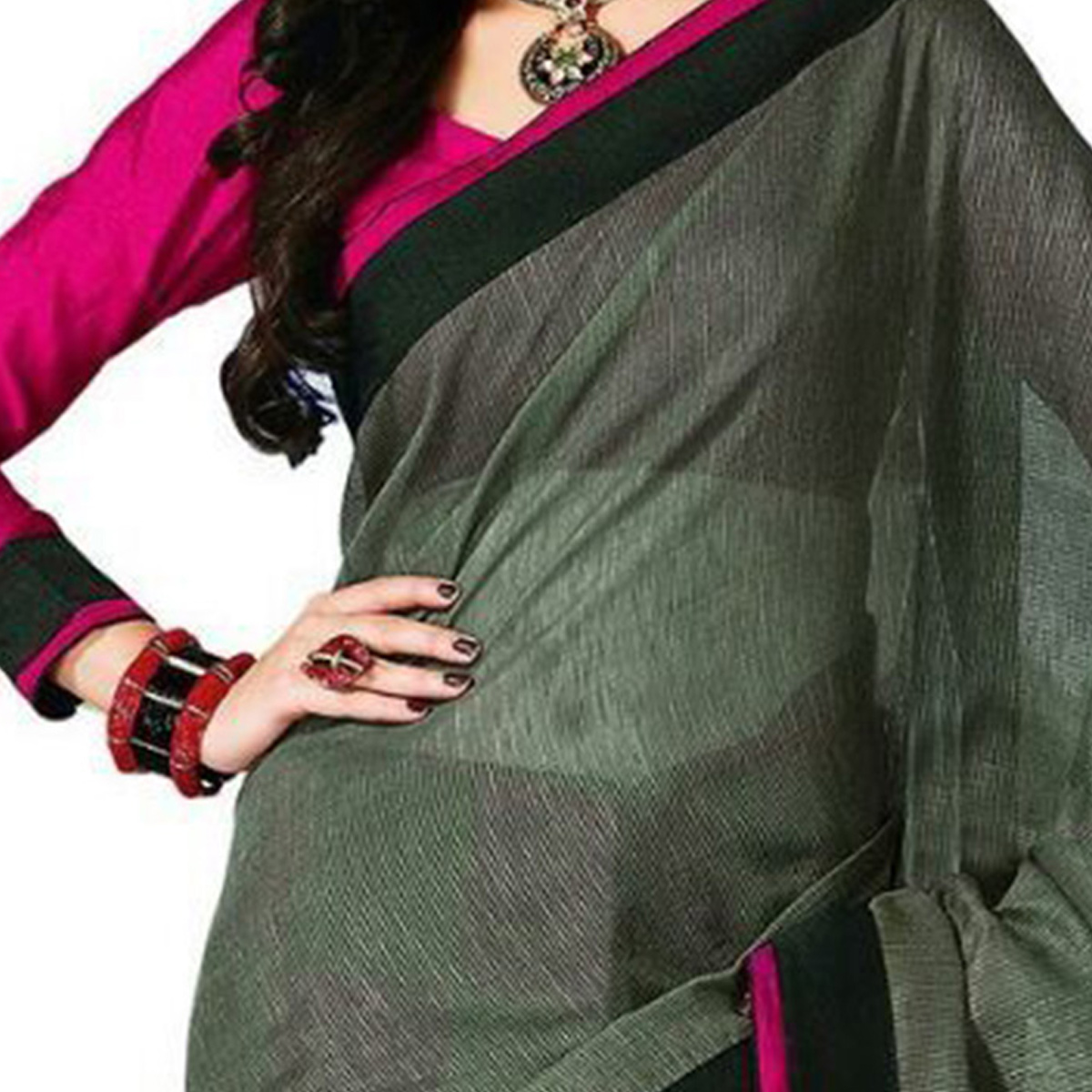Delightful Grey - Black Colored Casual Wear Printed Bhagalpuri Silk Saree