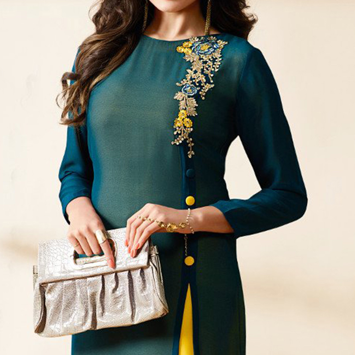 Intricate Green Colored Party Wear Embroidered Georgette Kurti