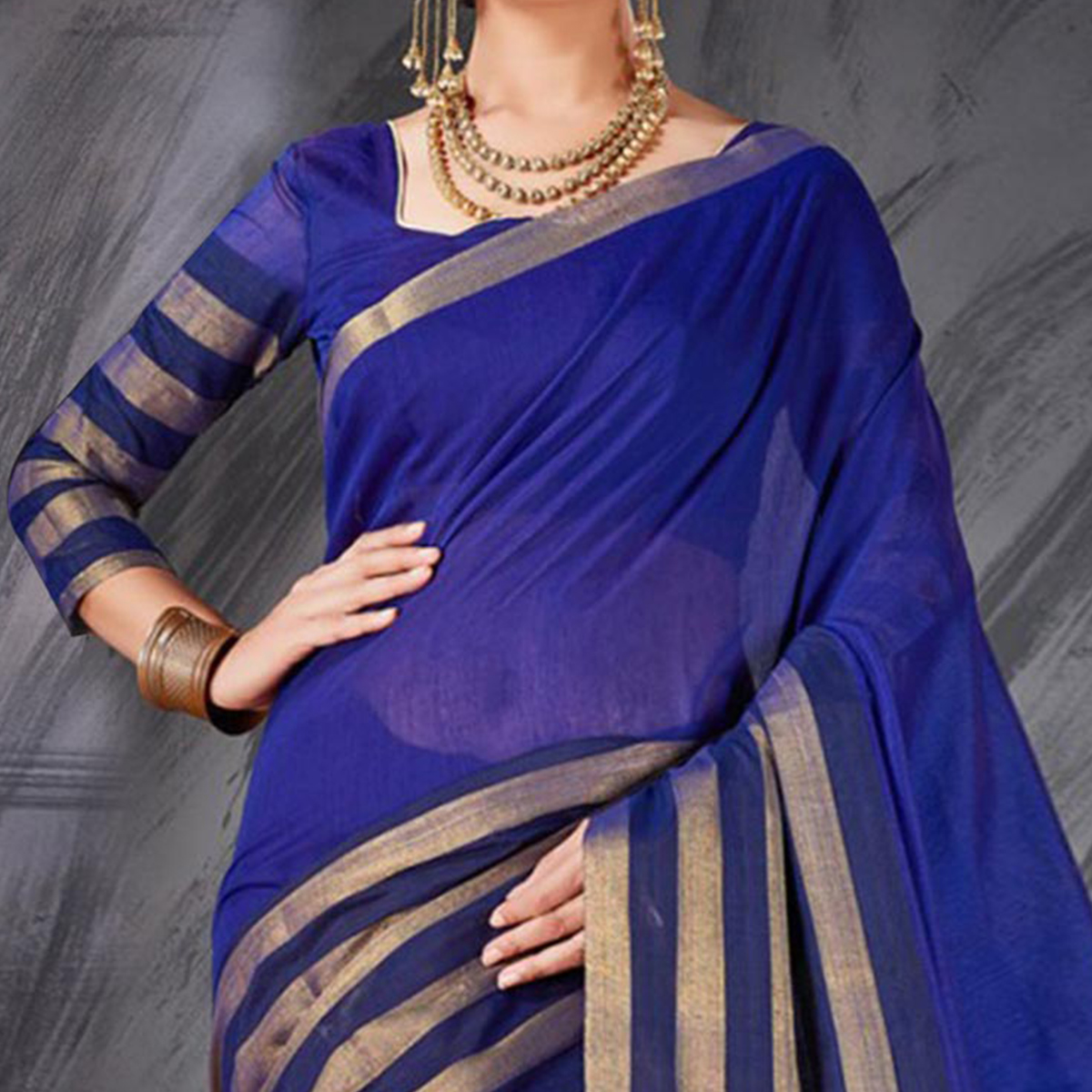 Desirable Blue Designer Cotton Silk Jacquard Saree