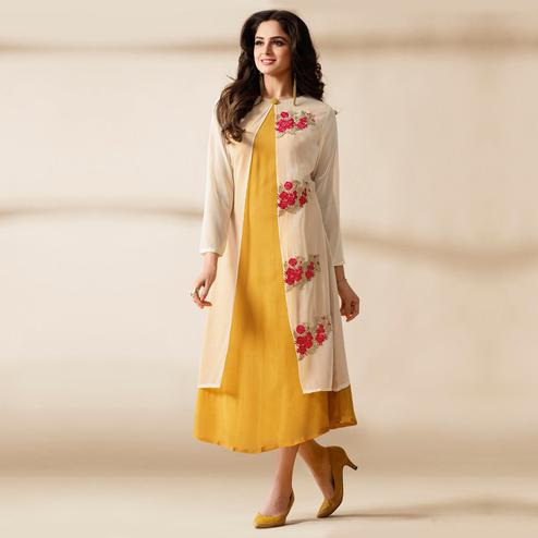 Desirable Cream - Yellow Colored Party Wear Embroidered Heavy Georgette Kurti