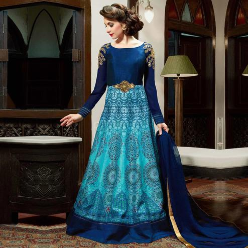 Ravishing Blue Colored Party Wear Embroidered Silk Anarkali Suit
