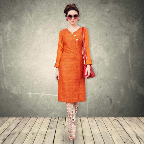 Adorable Orange Colored Casual Wear Printed Rayon-Cotton Kurti