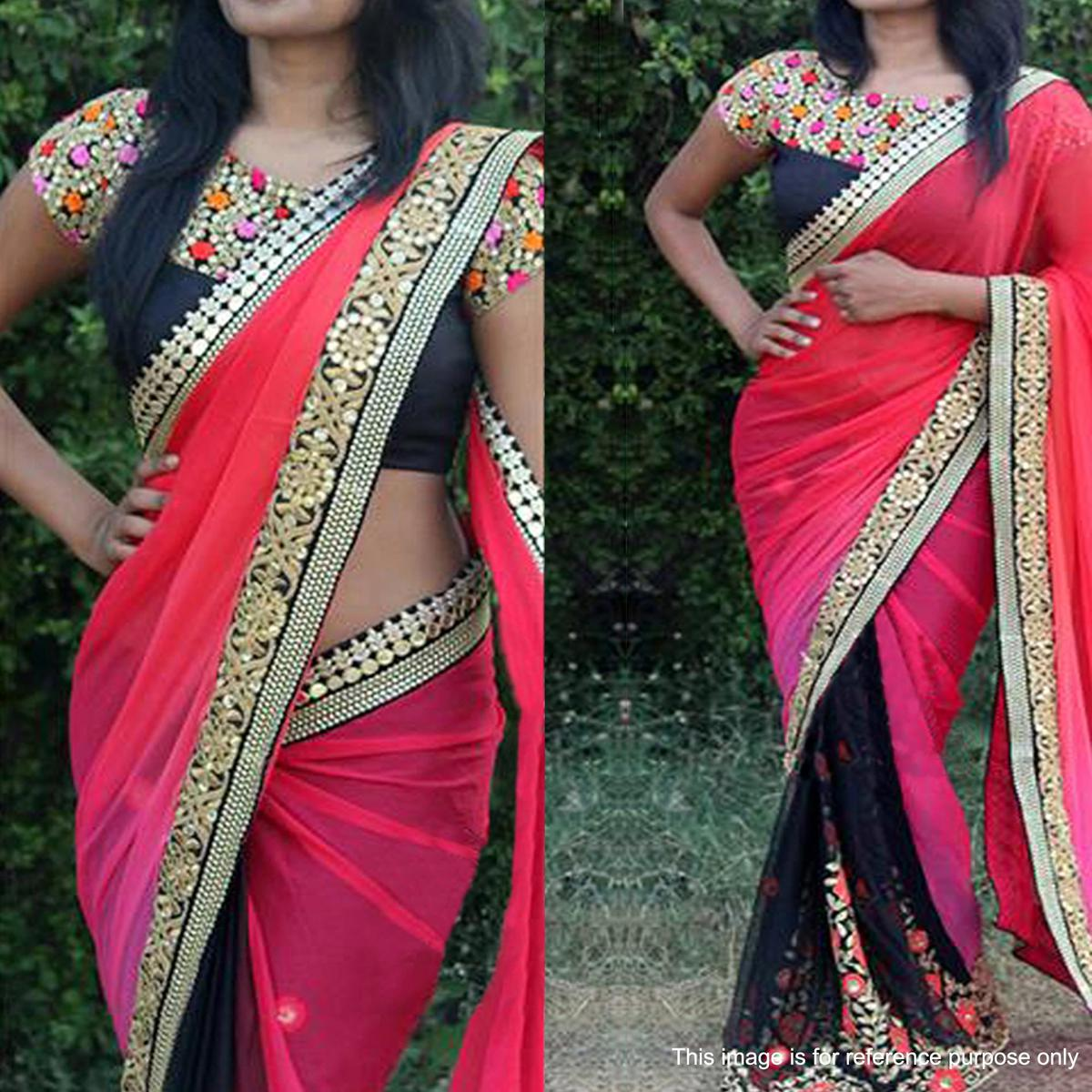 Staring Black - Pink Colored Party Wear Embroidered Georgette Saree