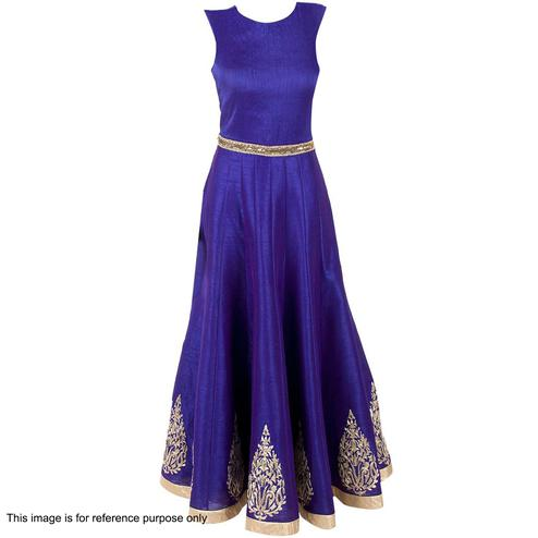 Pleasance Royal Blue Colored Party Wear Embroidered Satin-Banglori Silk Gown