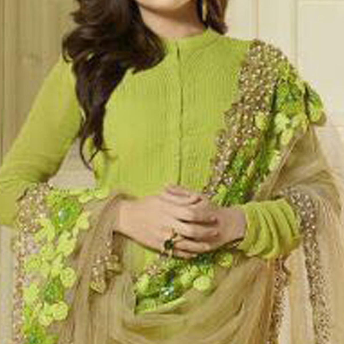 Adorning Parrot Green Colored Party Wear Georgette Anarkali Suit