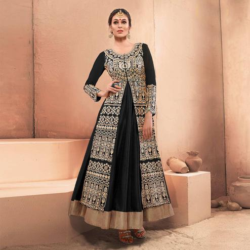 Captivating Black Colored Party Wear Embroidered Pure Dhupian Gown