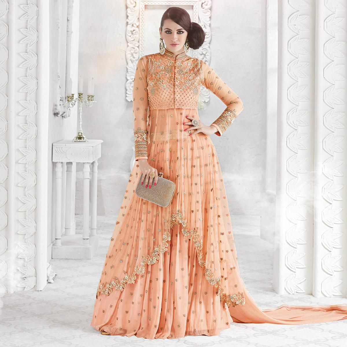 Flirty Peach Colored Party Wear Embroidered Georgette Lehenga Kameez
