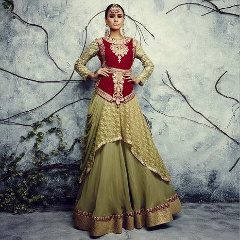Glowing Olive Green - Maroon Colored Party Wear Embroidered Net-Semi Georgette Anarkali Suit