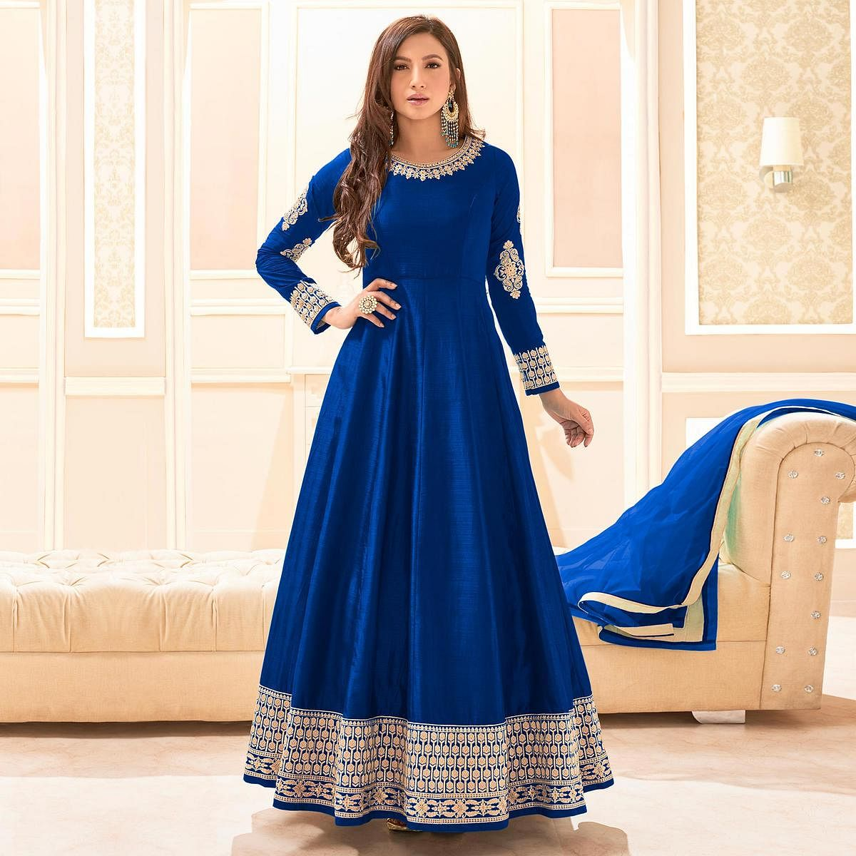 Starring Royal Blue Colored Party Wear Embroidered Cotton Anarkali Suit