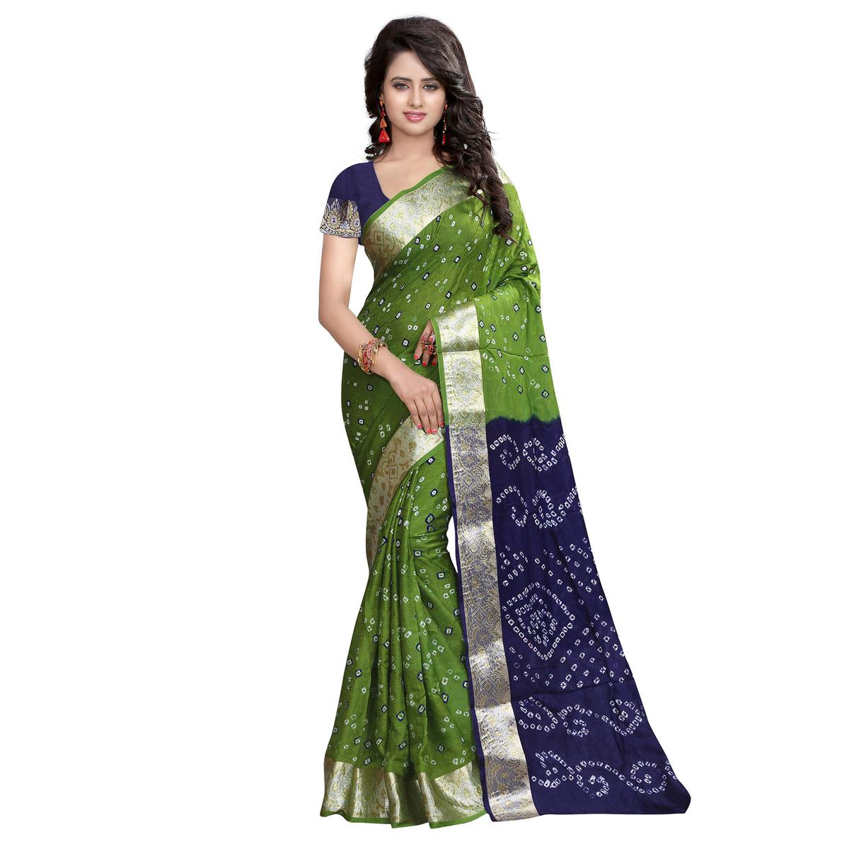 Imposing Green Colored Festive Wear Printed Cotton Silk Saree