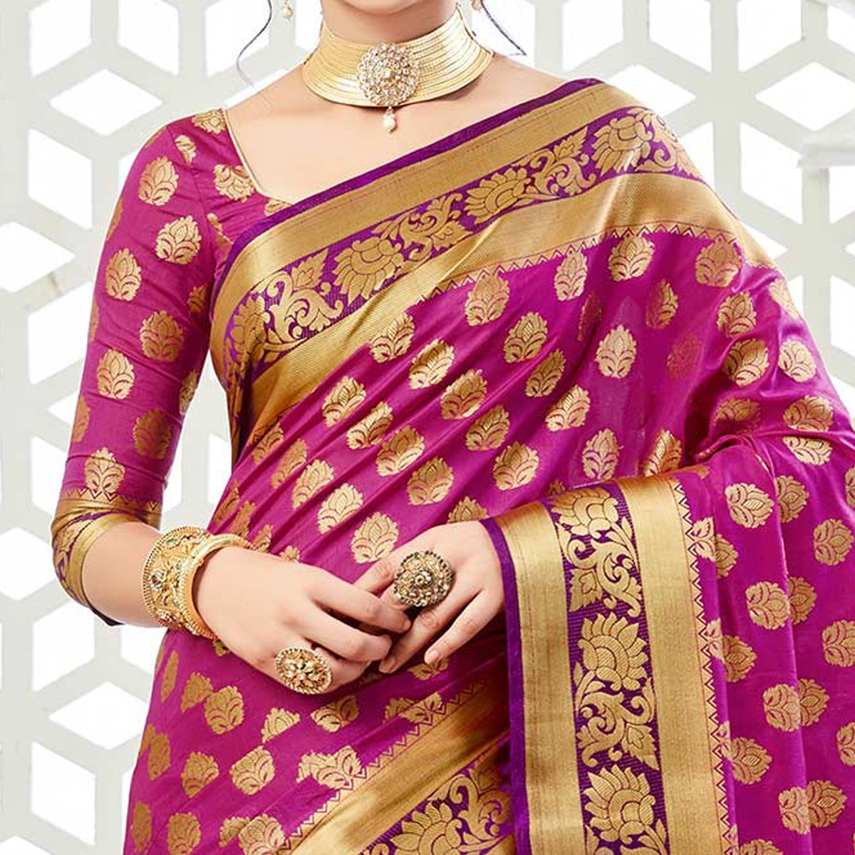 Engrossing Purple Colored Festive Wear Woven Raw Silk Saree