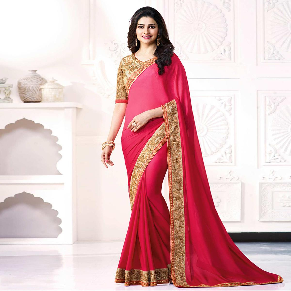 Fantastic Shaded Pink Colored Party Wear Embroidered Georgette Saree