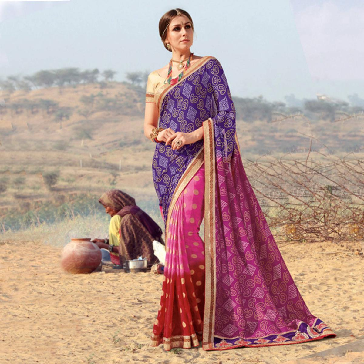 Unique Pink - Blue Colored Casual Wear Printed Georgette Saree
