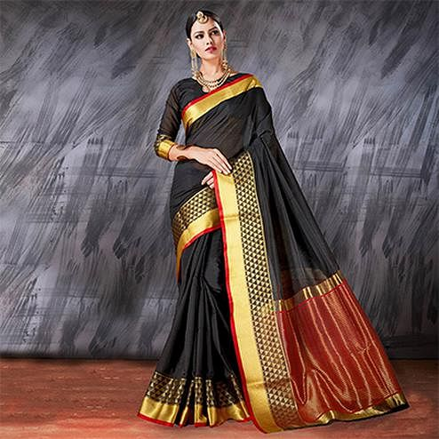 Stunning Black Designer Cotton Silk Jacquard Saree