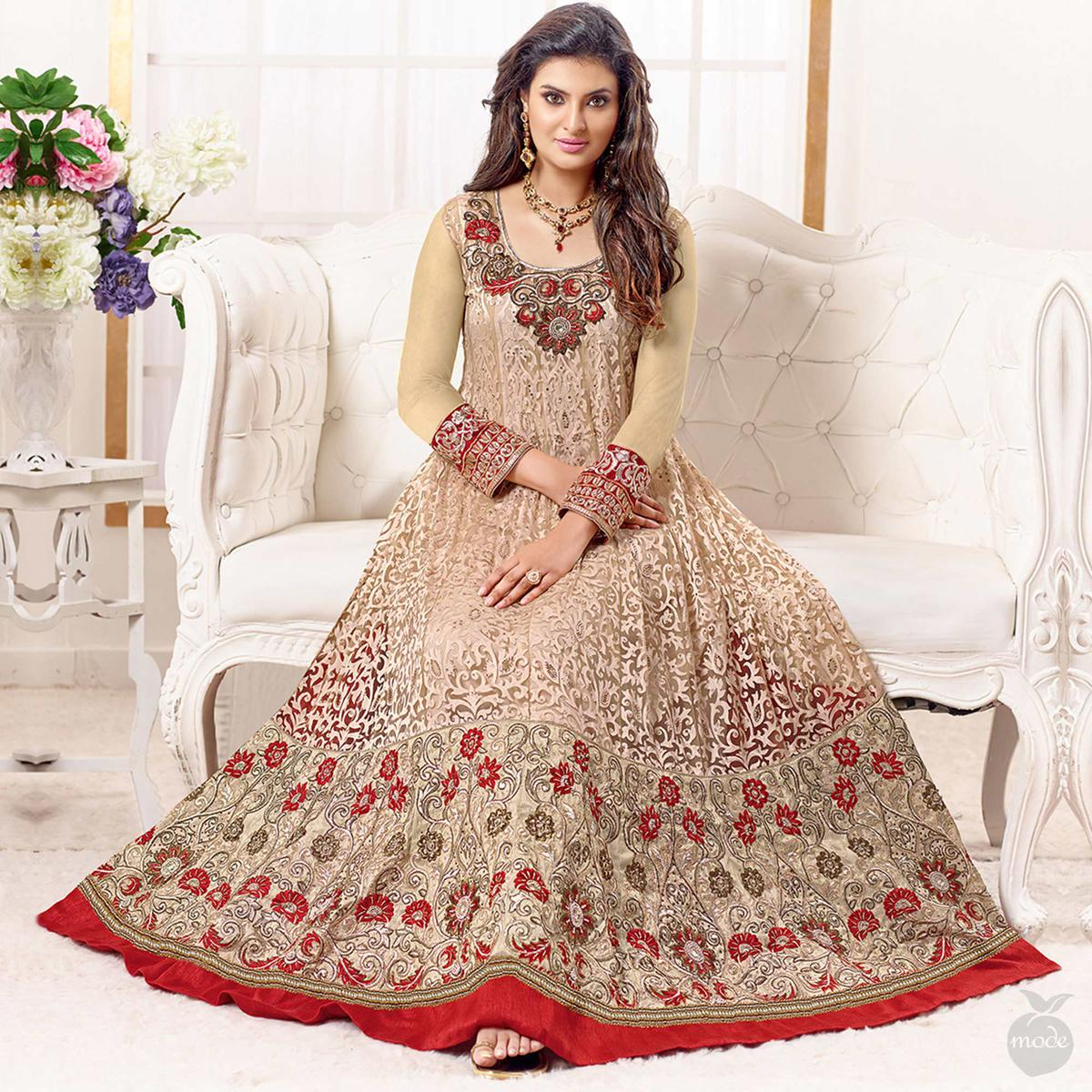 Beige Colored Party Wear Embroidered Net-Brasso Anarkali Suit