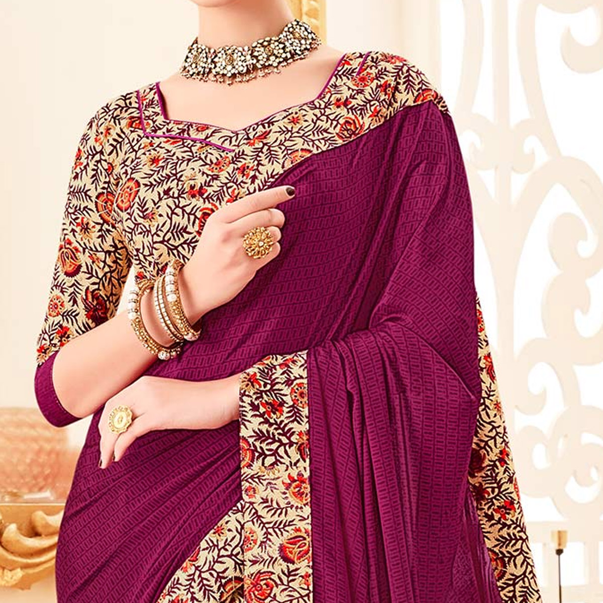 Ravishing Cream - Purple Colored Party Wear Printed Crepe Saree