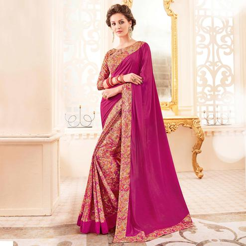 Marvellous Beige - Pink Colored Casual Wear Printed Crepe Saree