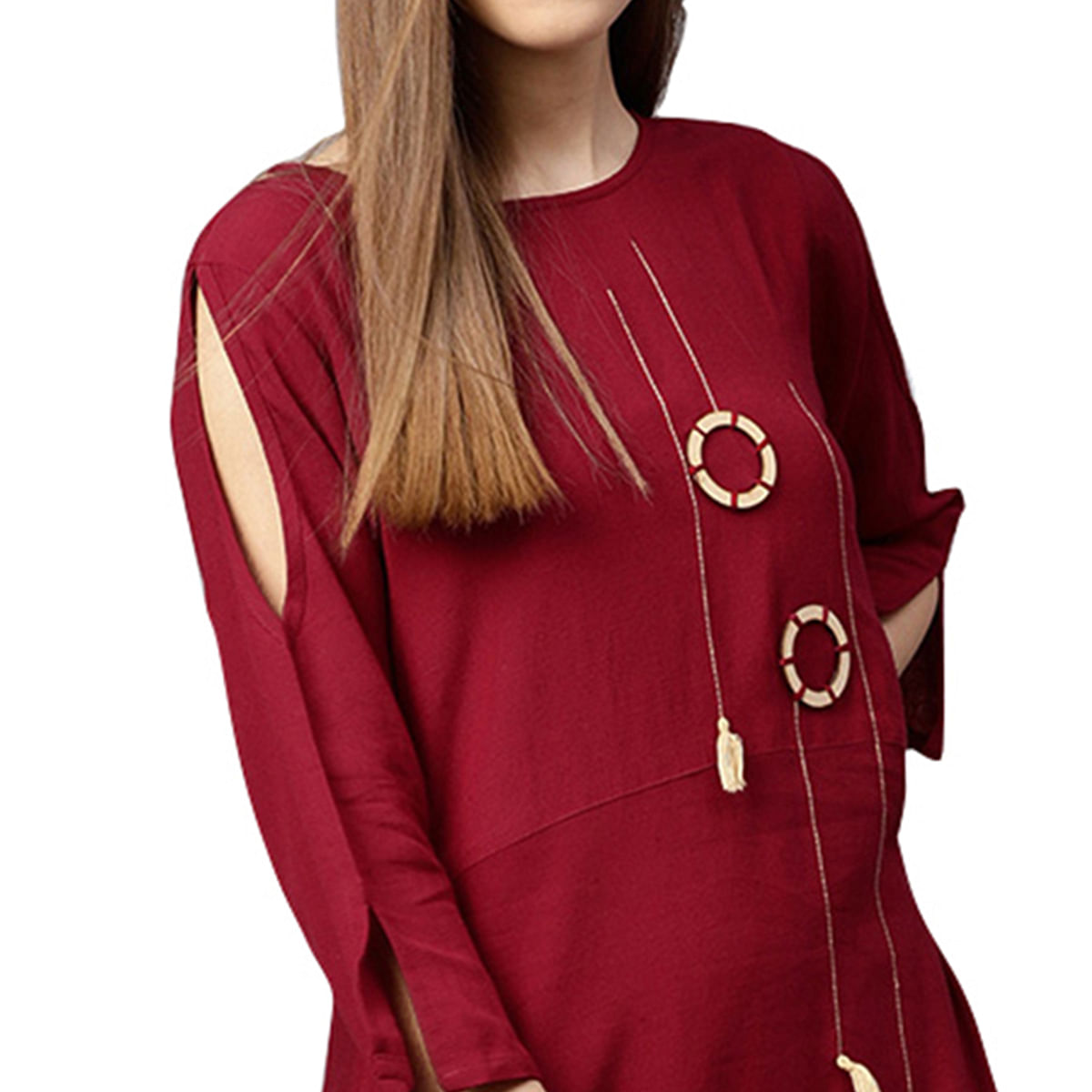 Sensational Maroon Colored Partywear Cotton Long Kurti