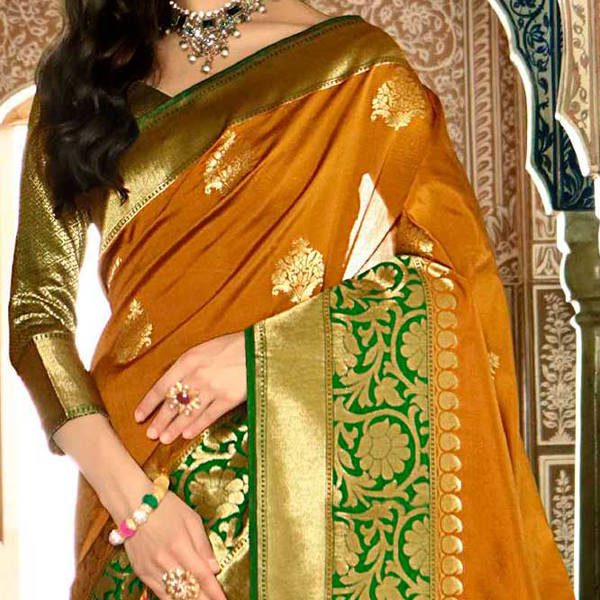 Ethnic Mustard Yellow Colored Festive Wear Poly Cotton Saree