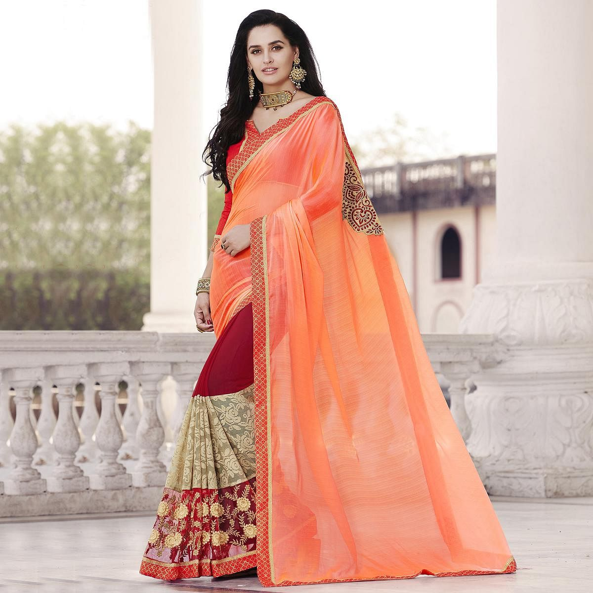 Delightful Peach - Maroon Colored Party Wear Georgette Saree