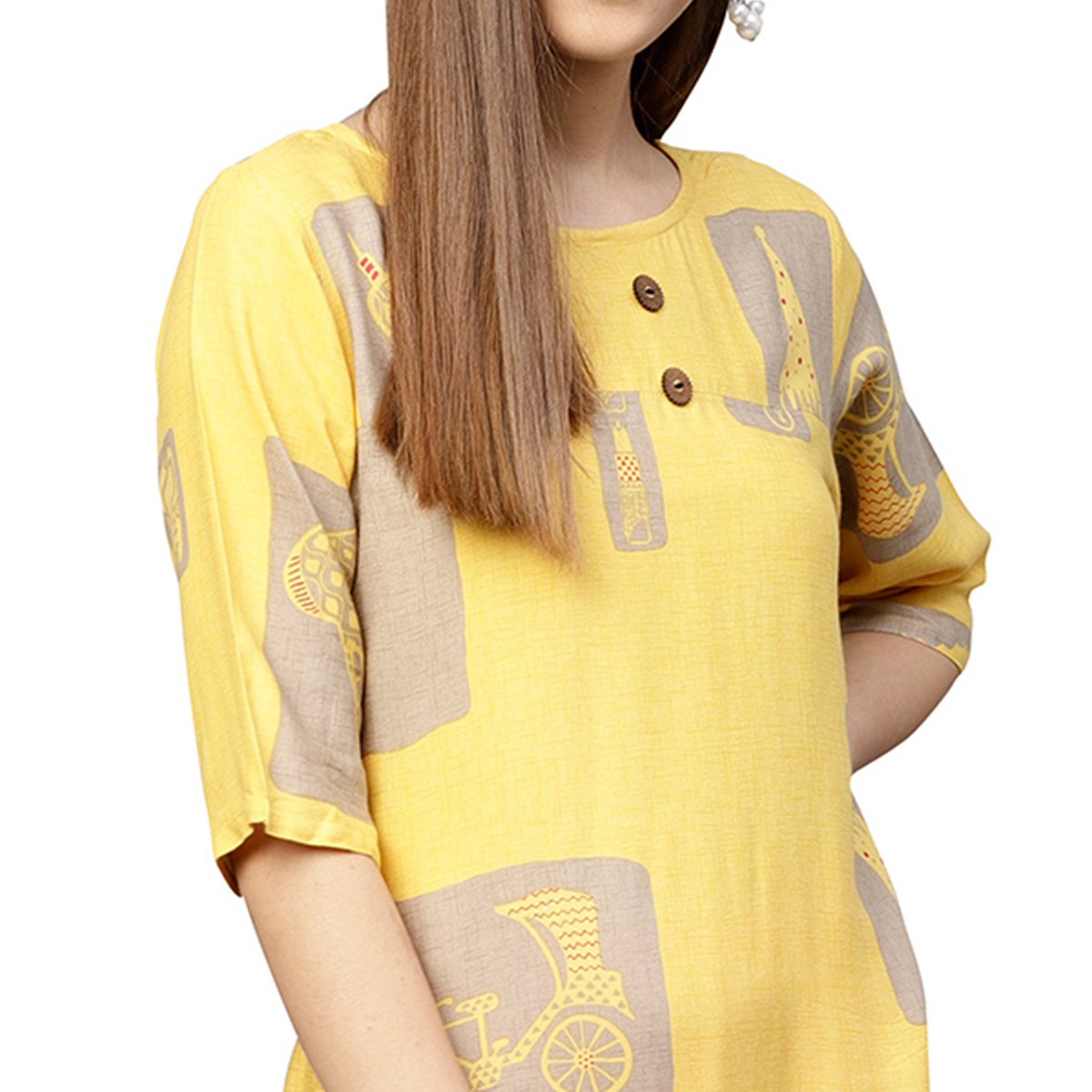 Appealing Yellow Colored Partywear Printed Rayon Long Kurti