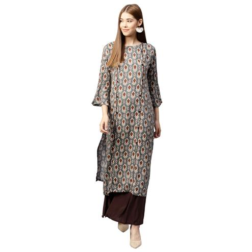 Classy Gray Colored Partywear Printed Rayon Long Kurti
